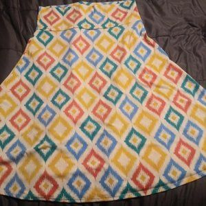 LulaRoe L Azure Skirt with Geometric Pattern